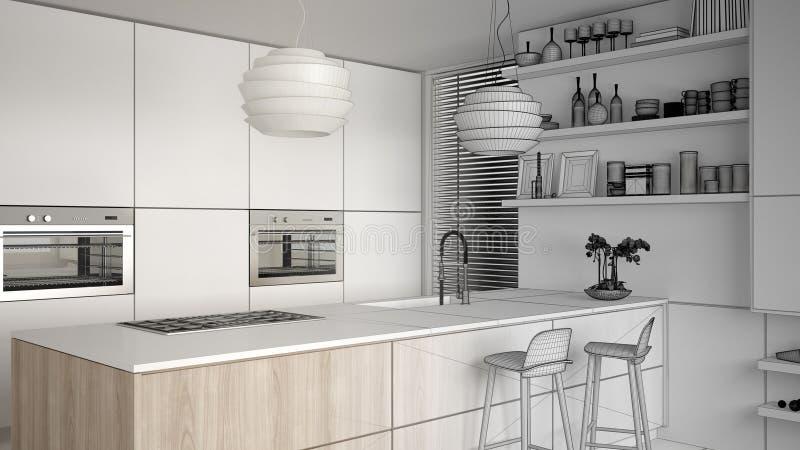 现代厨房和内阁,有凳子的海岛未完成的项目草稿有架子的 当代客厅,最低纲领派弧 库存例证