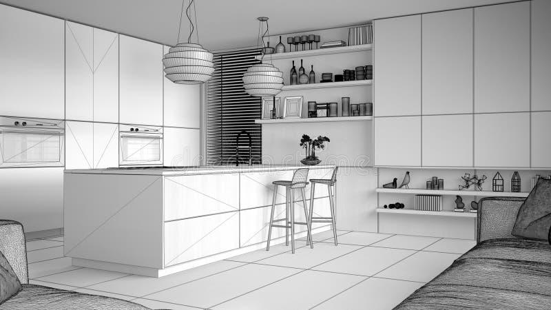 现代厨房和内阁,有凳子的海岛未完成的项目草稿有架子的 当代客厅,最低纲领派 库存例证