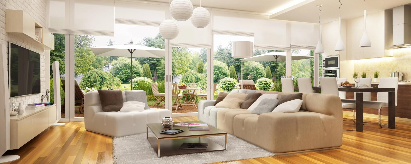 现代厨房和客厅有通入的对大阳台 向量例证