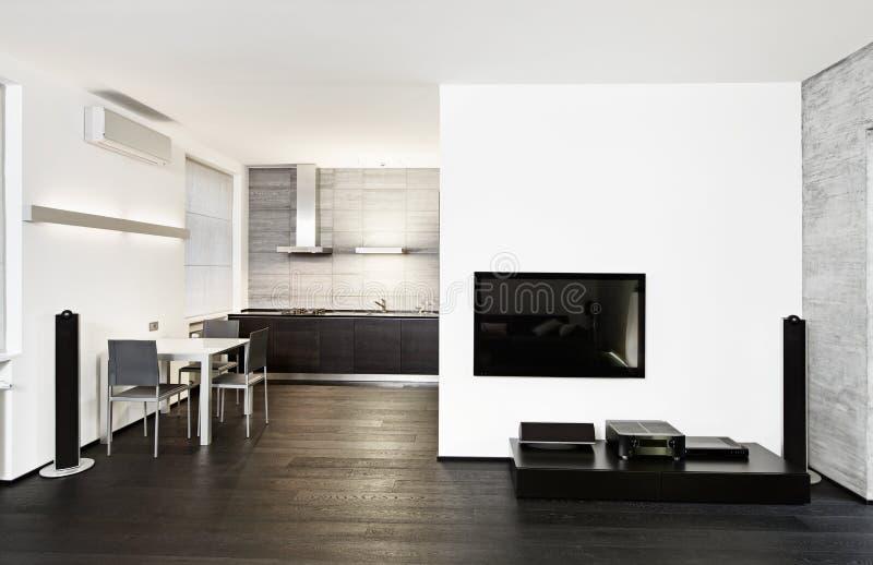 现代厨房和绘图室内部 免版税库存照片