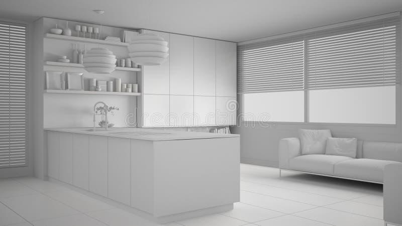 现代厨房总白色项目有架子的和内阁、沙发和全景窗口 当代客厅,最低纲领派 库存例证