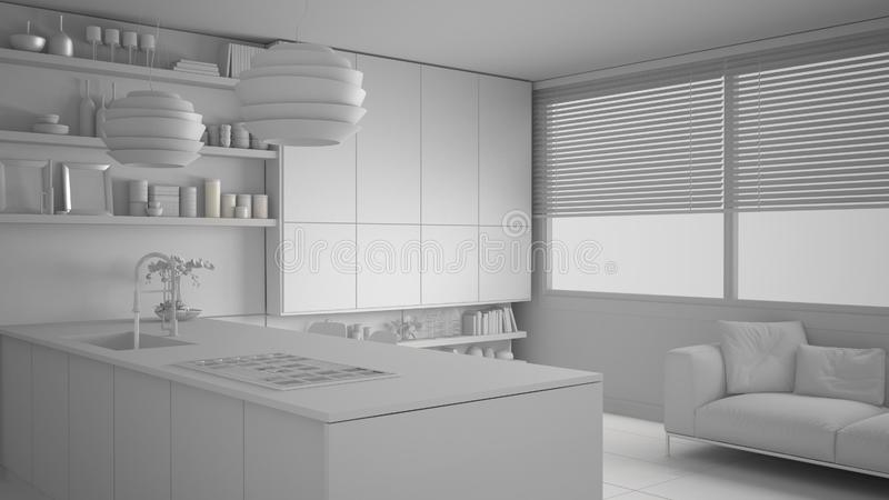 现代厨房总白色项目有架子的和内阁、沙发和全景窗口 当代客厅,最低纲领派 皇族释放例证