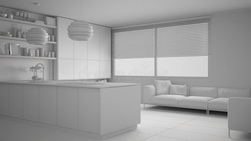 现代厨房总白色项目有架子的和内阁、沙发和全景窗口 当代客厅,最低纲领派a 皇族释放例证
