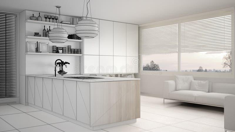 现代厨房未完成的项目草稿有架子的和内阁、沙发和全景窗口 当代客厅,最小 向量例证