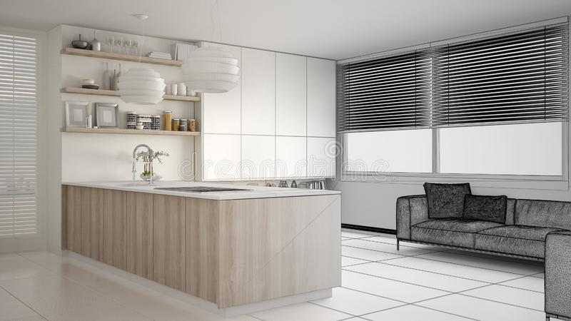 现代厨房未完成的项目草稿有架子的和内阁、沙发和全景窗口 当代客厅 皇族释放例证