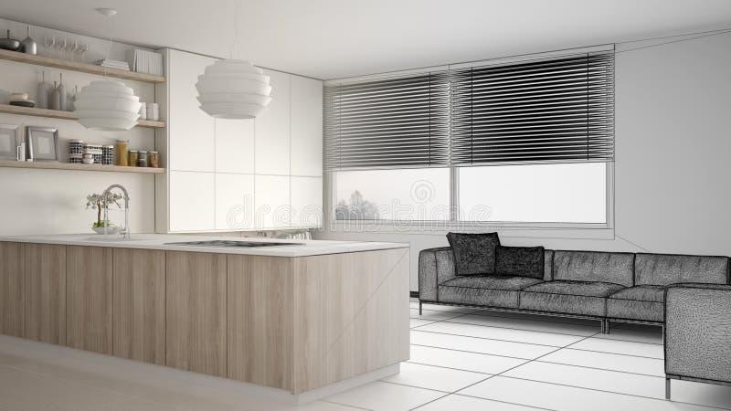 现代厨房未完成的项目草稿有架子的和内阁、沙发和全景窗口 当代客厅 向量例证