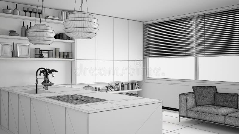 现代厨房未完成的项目草稿有架子的和内阁、沙发和全景窗口 当代客厅 库存例证