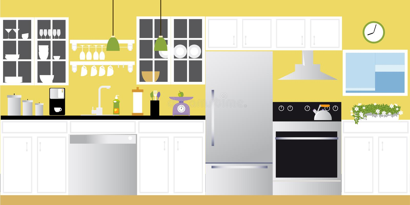 现代厨房背景 库存例证