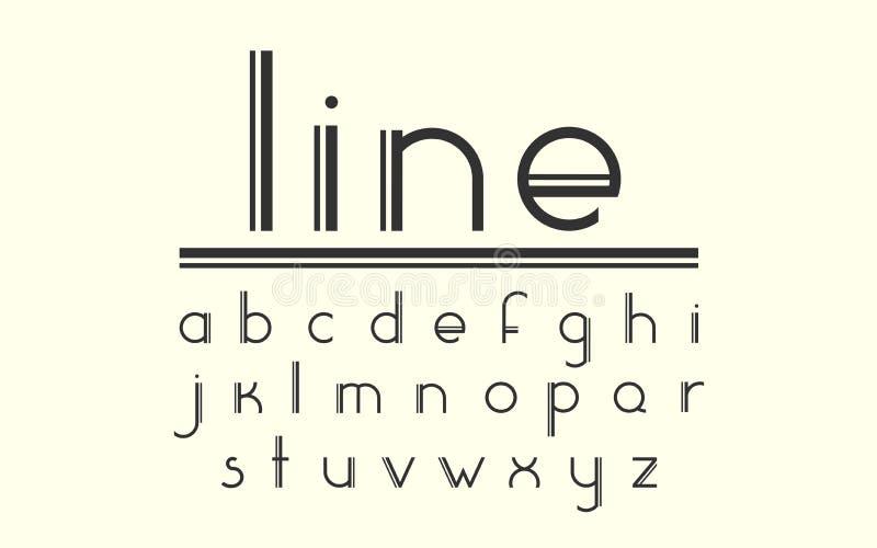现代双重线的显示向量字体和字母表 库存例证