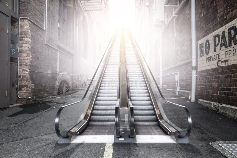 现代双重自动扶梯在城市 库存例证