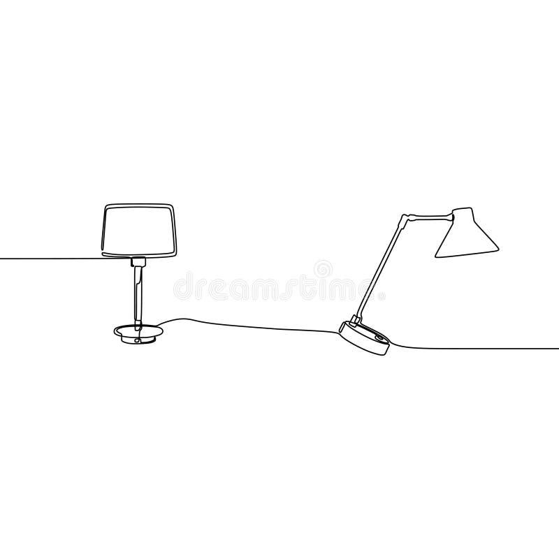 现代台灯一线灯象集合 概述套灯在白色背景网络设计的传染媒介象隔绝的 向量例证