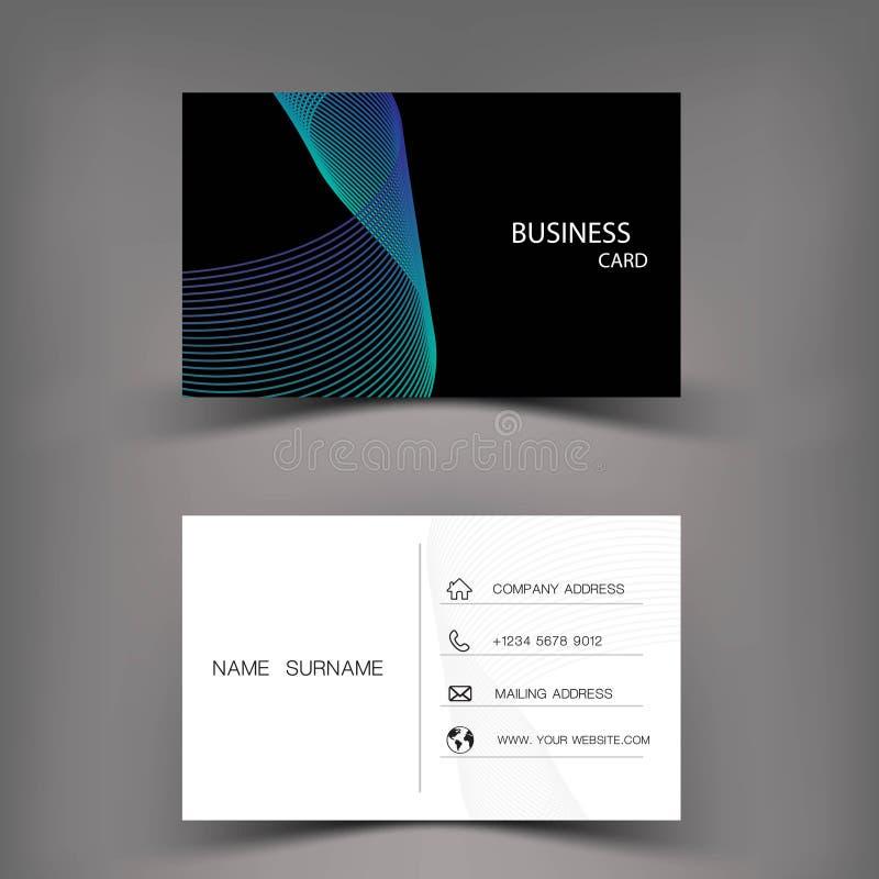 现代名片模板设计 从线摘要的启发 在灰色背景illustratio的蓝色和黑颜色 库存例证