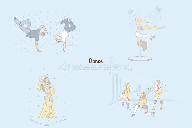 现代和传统芭蕾舞蹈艺术,做把戏,twerking,腹部舞蹈优美的杆舞蹈家横幅的断裂舞蹈家 向量例证