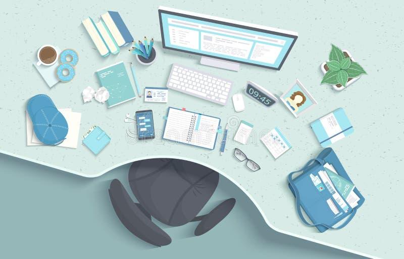 现代和时髦的工作场所顶视图  与凹进处的表,扶手椅子,显示器,书,笔记本,耳机,电话 向量例证