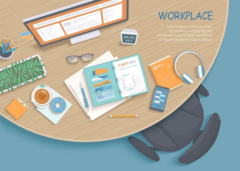 现代和时髦的工作场所顶视图  圆的木桌,扶手椅子,办公用品,显示器,书,笔记本,耳机,茶 库存例证