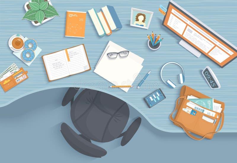 现代和时髦的工作场所顶视图  木桌,扶手椅子,办公用品,显示器,书 库存例证