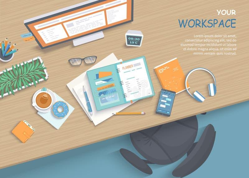现代和时髦的工作场所顶视图  木桌,扶手椅子,办公用品 向量例证