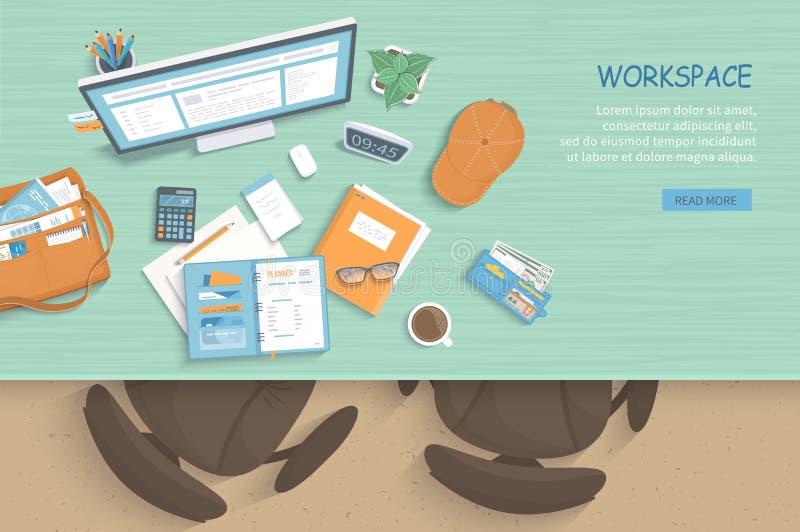 现代和时髦的工作场所顶视图  表,扶手椅子,显示器,笔记本,纸,咖啡 向量例证