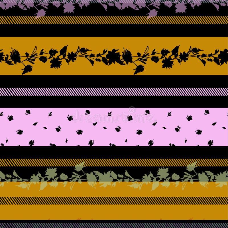 现代和时髦精美花开花的herizontal条纹无缝的样式vecto 向量例证