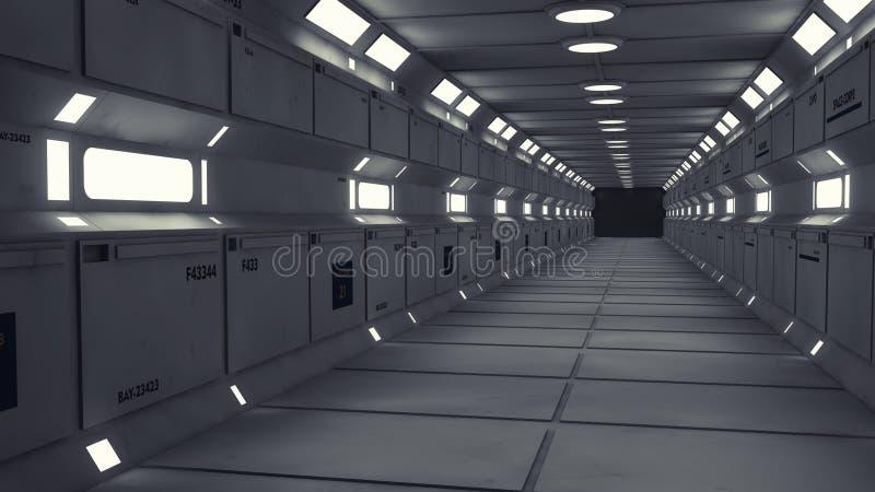 现代和未来派太空飞船走廊 库存照片