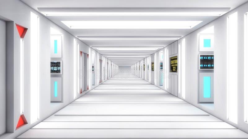 现代和未来派太空飞船走廊 免版税图库摄影
