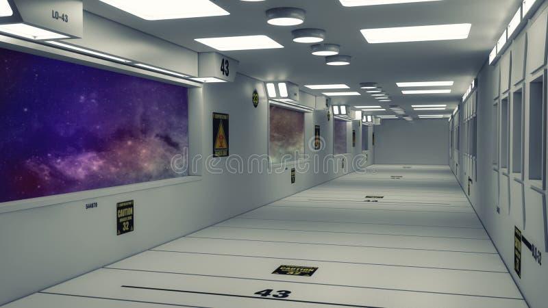 现代和未来派太空飞船走廊 免版税库存图片