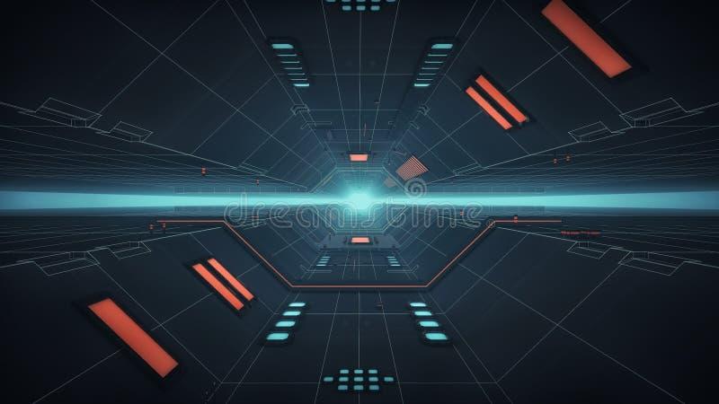 现代和未来派太空飞船走廊 皇族释放例证