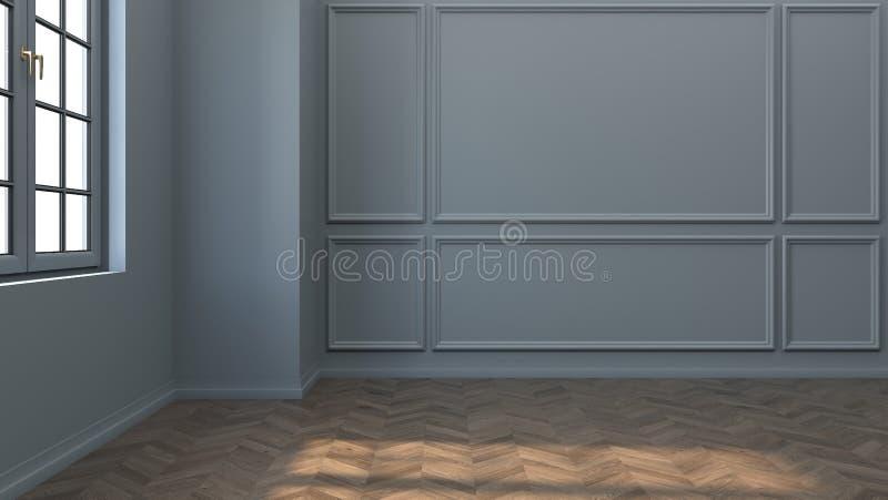 现代和经典客厅室内设计,与木地板和灰色墙壁,3d翻译 皇族释放例证