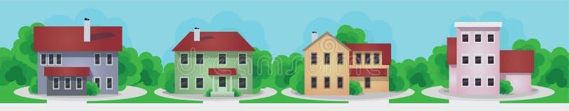 现代和老村庄房子集合 皇族释放例证