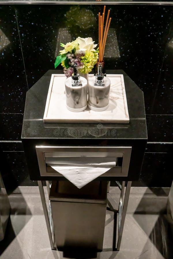 现代和豪华肥皂和化妆水大理石分配器在豪华卫生间里 免版税库存照片