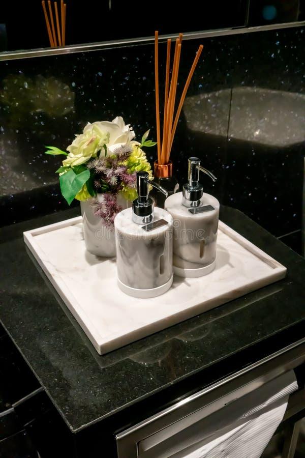 现代和豪华肥皂和化妆水大理石分配器在豪华卫生间里 库存图片