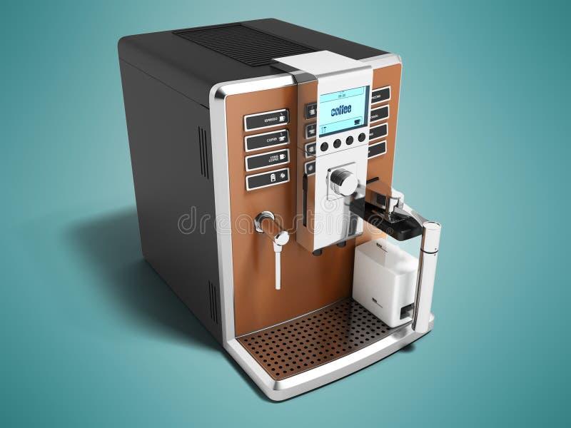 现代咖啡壶多功能为两个杯子变褐用牛奶 向量例证