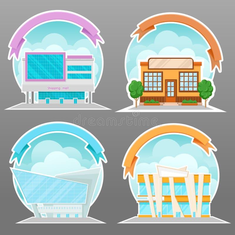 现代商城、超级市场和办公楼设置了,动画片传染媒介例证,标签的设计元素或 库存例证