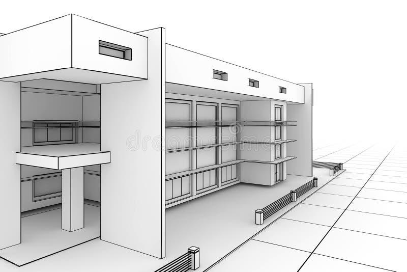现代图纸的房子 库存例证