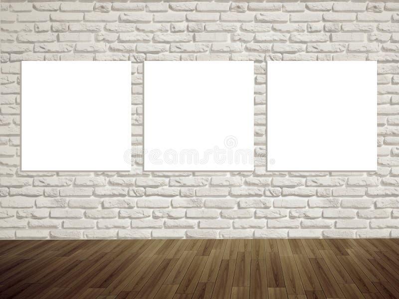 现代在墙壁上的艺术画廊空的照片 免版税库存图片