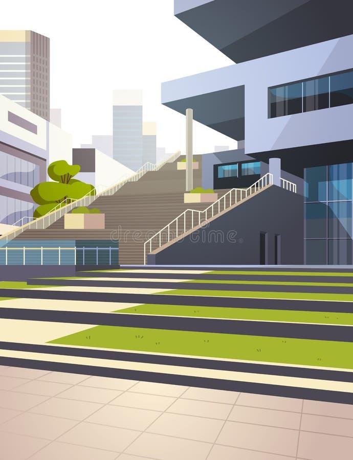 现代在摩天大楼大厦都市风景背景垂直的舱内甲板的办公楼台阶外视图 向量例证