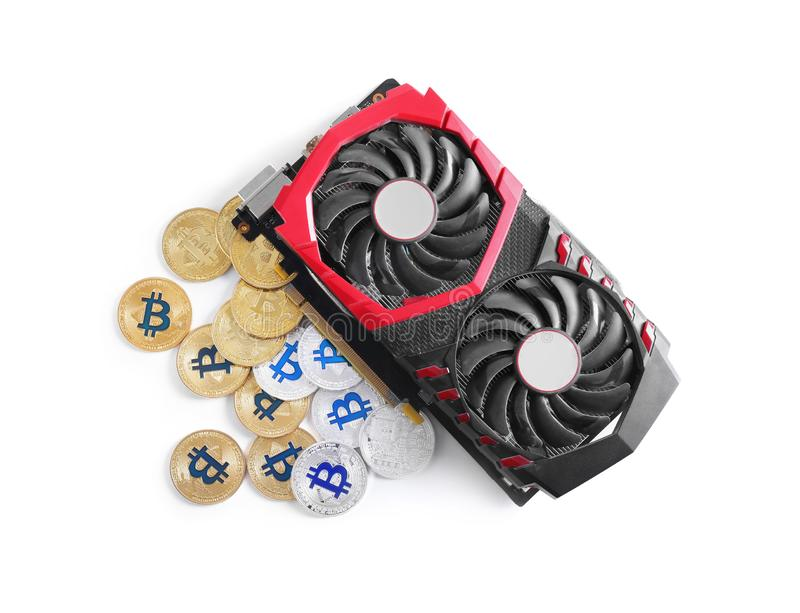 现代在白色隔绝的显示卡和bitcoins 库存图片