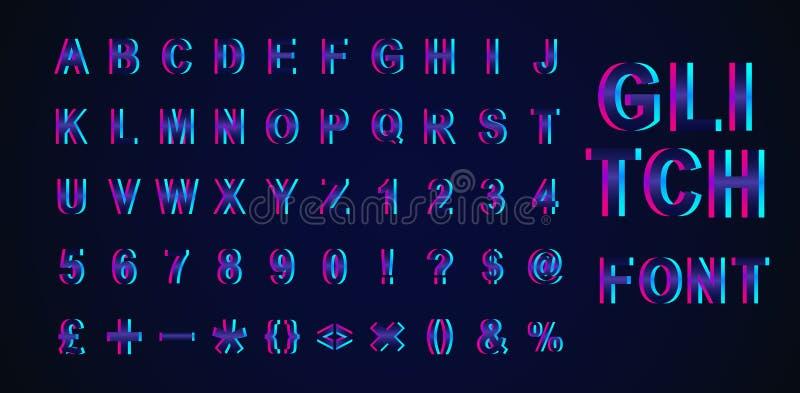 现代在背景隔绝的趋向小故障等量字体的创造性的传染媒介例证 艺术与畸变的设计3d字母表 皇族释放例证
