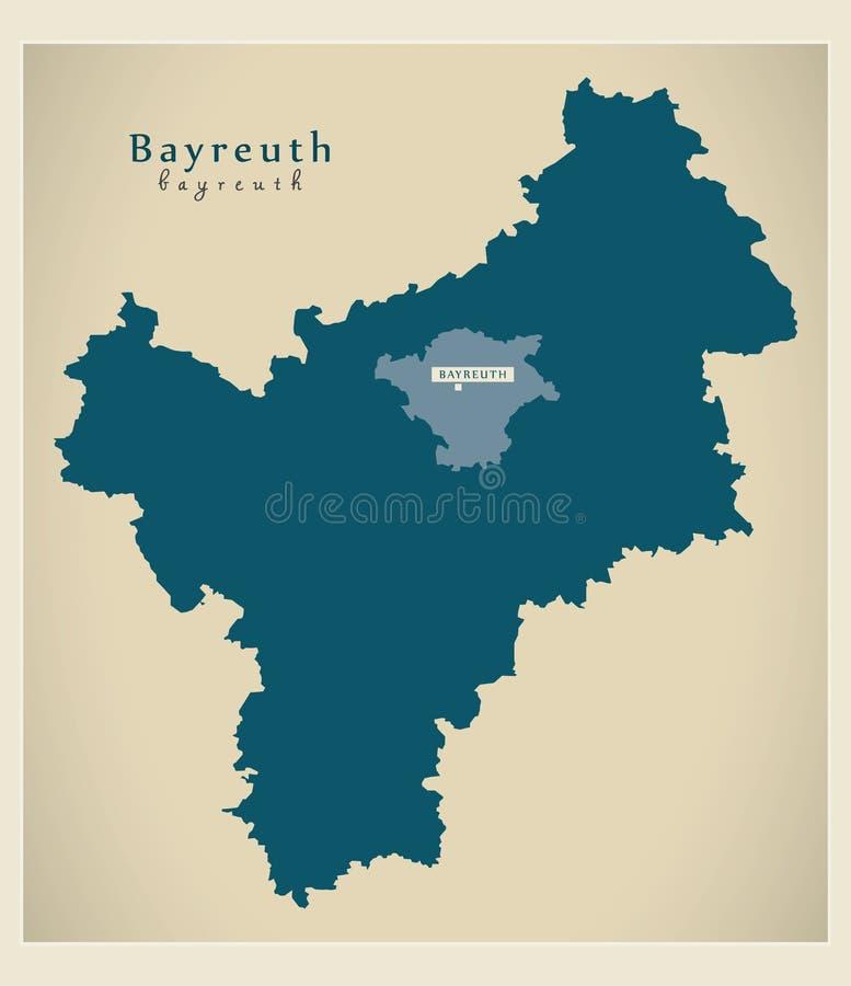 现代地图-巴伐利亚DE的拜罗伊特县 向量例证