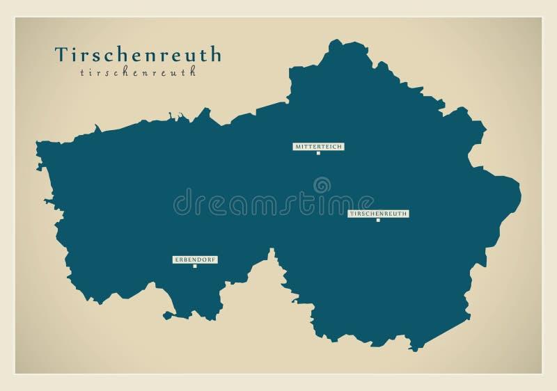 现代地图-巴伐利亚DE的蒂申罗伊特县 皇族释放例证