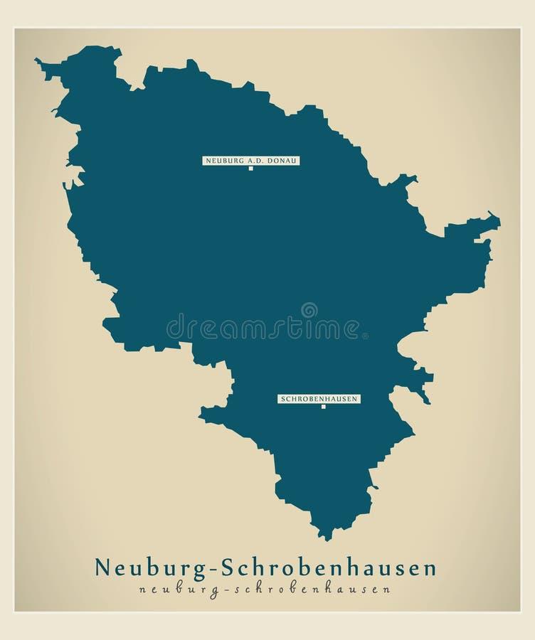 现代地图-巴伐利亚DE的诺伊堡-施鲁本豪森县县 向量例证