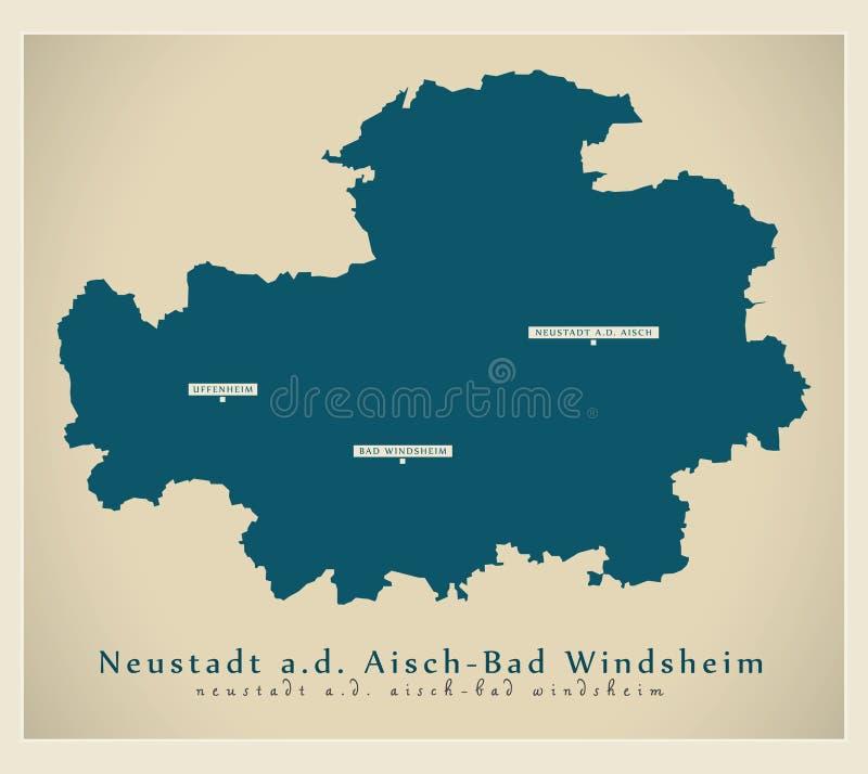 现代地图-巴伐利亚DE的诺伊斯塔特Aisch -巴德温茨海姆县 向量例证