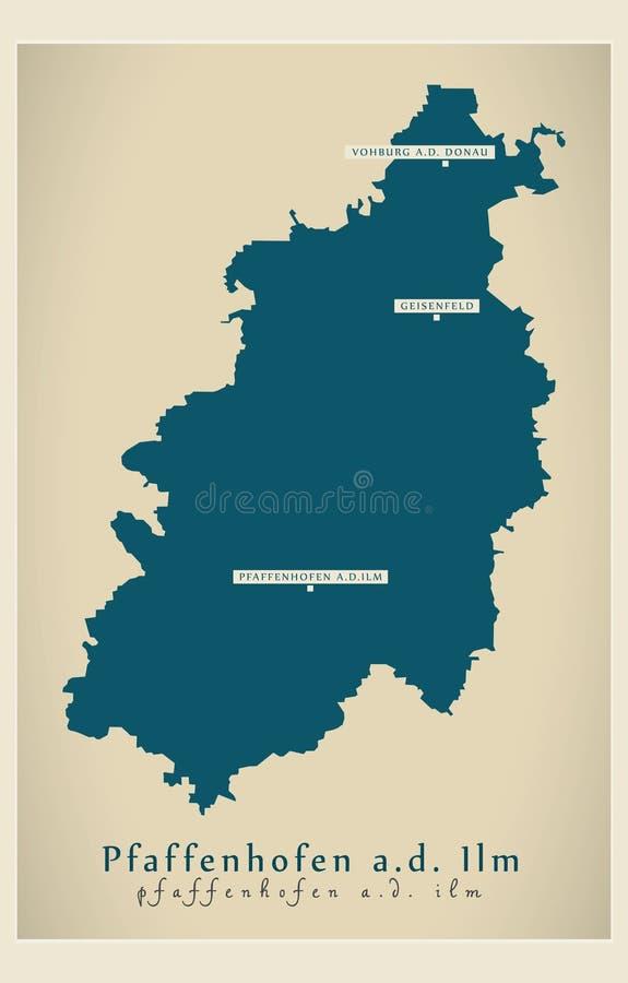 现代地图-普法芬霍芬巴伐利亚DE的der伊尔姆河县 库存例证
