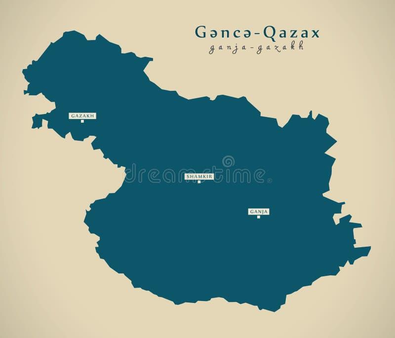 现代地图- Ganja-Gazakh AZ 库存例证