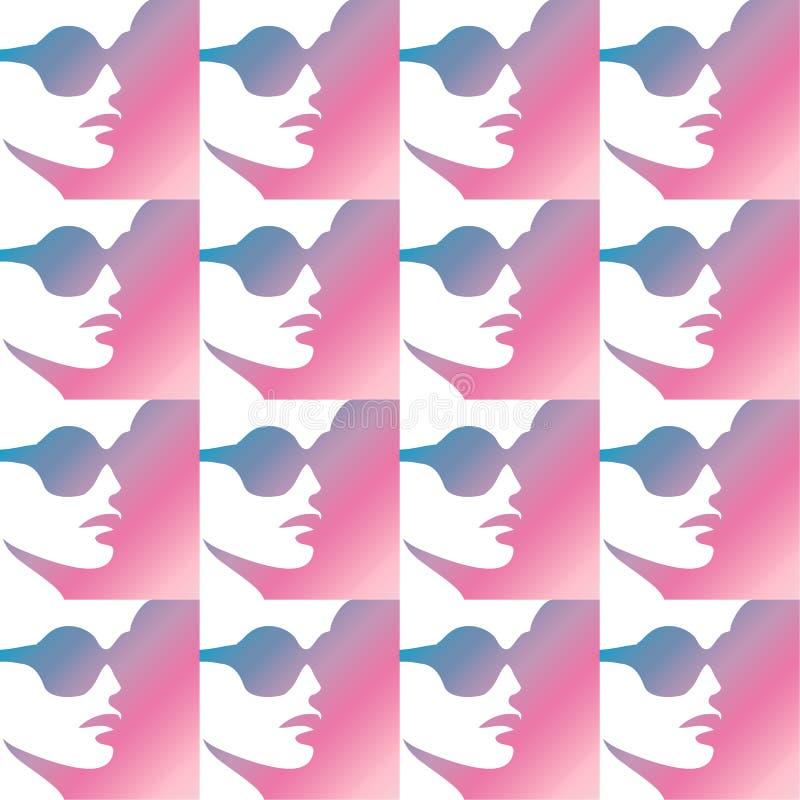 现代坚强的强有力的妇女男女平等主义者和成功的妇女画象侧视图秀丽与脑子 库存例证