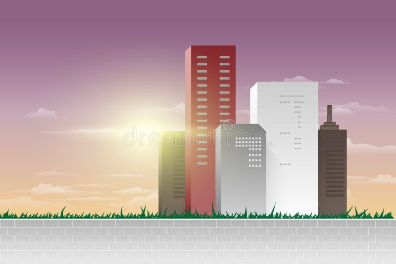 现代城市全景传染媒介例证 向量例证