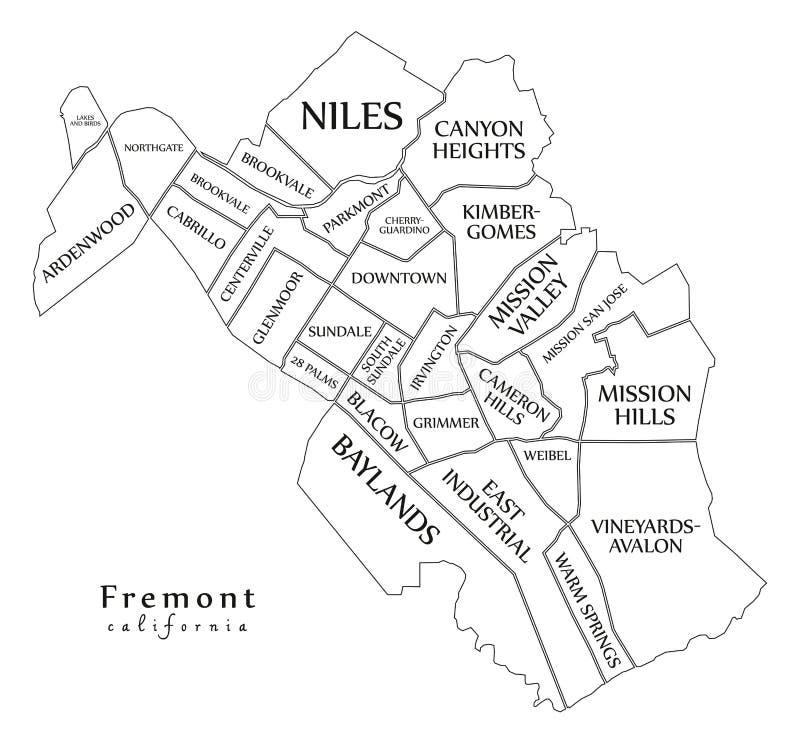现代城市地图-美国的佛瑞蒙加利福尼亚市有邻里和标题概述地图的 向量例证