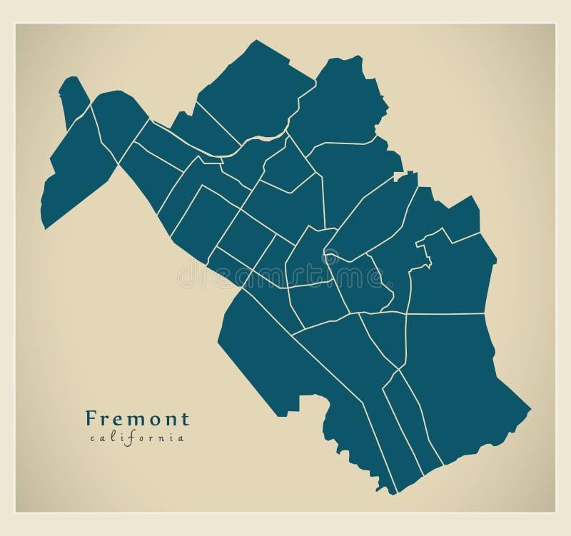 现代城市地图-美国的佛瑞蒙加利福尼亚市有邻里的 向量例证