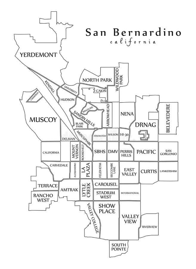 现代城市地图-美国的圣伯纳迪诺加利福尼亚市有邻里和标题概述的 库存例证