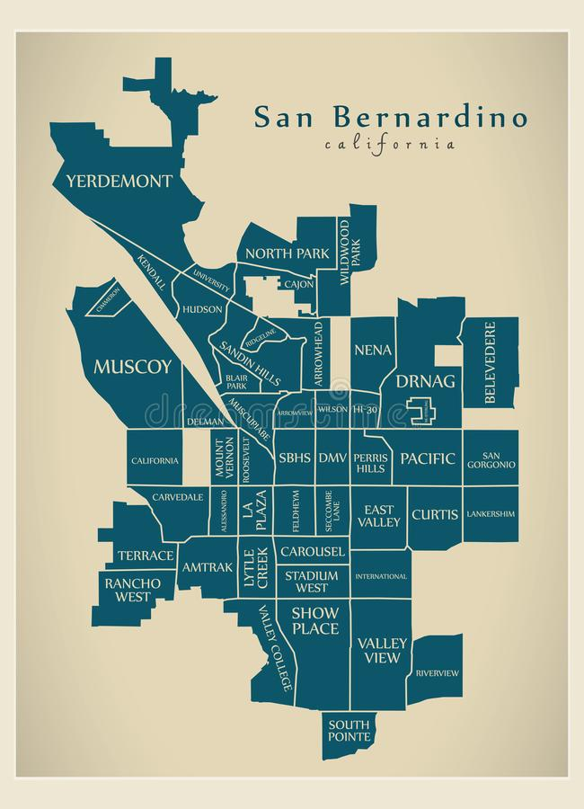 现代城市地图-美国的圣伯纳迪诺加利福尼亚市有邻里和标题的 库存例证